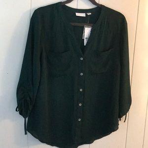 NEW YORK & COMPANY NWT green blouse size medium